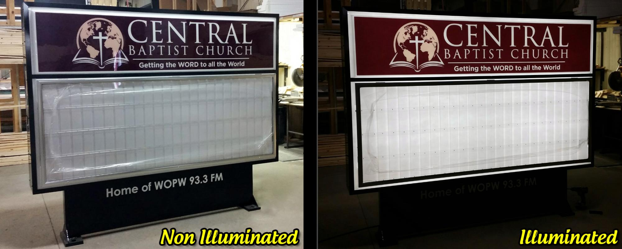 New Church Sign with beautiful landscaping | Buy Direct Signs - LED ...
